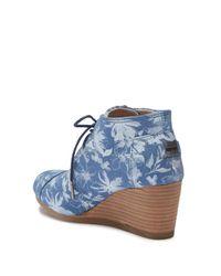 TOMS - Blue Floral Print Suede Desert Wedge Bootie - Lyst