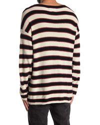 AllSaints Black Terren Crew Striped Shirt for men