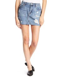Vigoss Blue Jagger Distressed Denim Mini Skirt