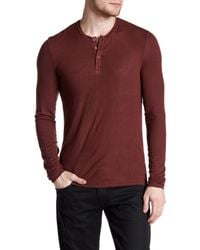 ATM | Red Long Sleeve Rib Henley Shirt for Men | Lyst