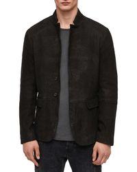 AllSaints Black Brenton Regular Fit Leather Jacket for men