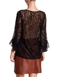 Pleione Black Bell Sleeve Lace Crew Neck Blouse