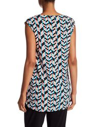 Chaus - Blue V-neck Shadow Glass Shirt - Lyst