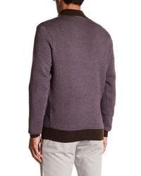 Peter Millar - Purple Jacquard Quarter Zip Merino Wool Sweater for Men - Lyst