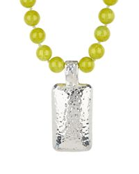 Simon Sebbag - Metallic Lime Beaded Hade Jasper With Hammered Pendant Necklace - Lyst
