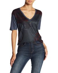Go Couture - Blue Printed Pocket Tee - Lyst