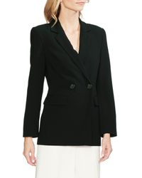 Vince Camuto Black Parisian Crepe Double Breasted Blazer