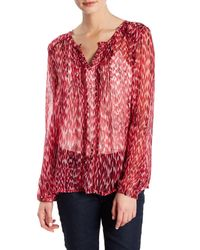 Casual Studio | Red Split Neck Pleated Blouse | Lyst