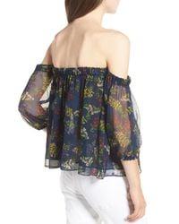 8feb8f762ac73 Lyst - Ella Moss Poetic Garden Off The Shoulder Silk Blouse in Blue