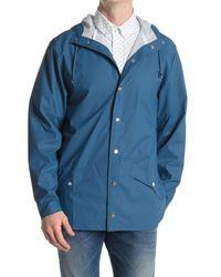 Rains Blue Waterproof Hooded Long Jacket for men