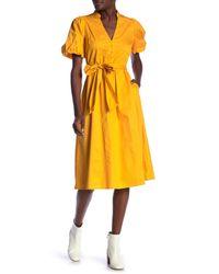 Jealous Tomato Yellow Short Sleeve Waist Tie Dress