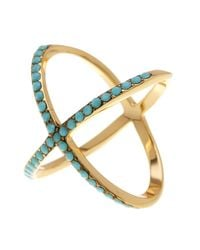 Ariella Collection - Metallic Large X Ring - Lyst