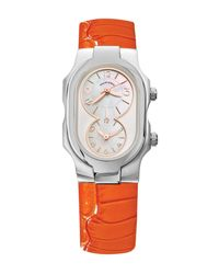 Philip Stein - Multicolor Women's Small Signature Dual Time Zone Embossed Leather Watch - Lyst