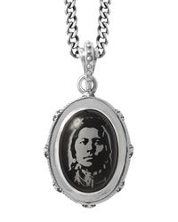 King Baby Studio - Black Etched Chief On Stone Bezel Pendant Necklace - Lyst