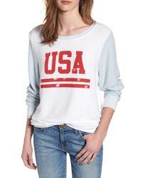 Wildfox - White Usa Baggy Beach Jumper Pullover - Lyst