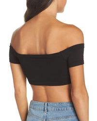 Free People - Black Intimately Fp Make You Mine Off The Shoulder Crop Top - Lyst