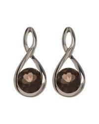 Liberty - Metallic Polished Sterling Silver Smoky Quartz Infinity Post Earrings - Lyst