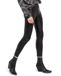 Free People - Black Faux Leather Leggings - Lyst