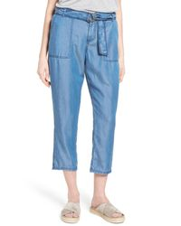 Caslon - Blue Belted Chambray Crop Pants (regular & Petite) - Lyst