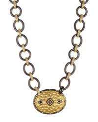 Freida Rothman - Metallic Rhodium & 14k Gold Plated Sterling Silver Hammered Cz Pave Clover Shield Necklace - Lyst