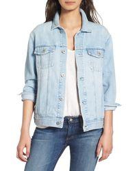 AG Jeans Blue Nancy Three Quarter Sleeve Denim Jacket