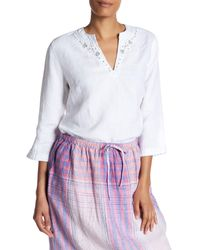 Tommy Bahama White Two Palms Embroidered Linen Tunic