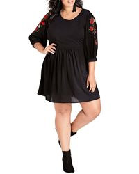 City Chic Black Road Esque Embroidered Dress (plus Size)