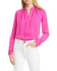 Polo Ralph Lauren Pink Ida Silk Blend Blouse