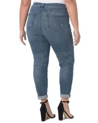 NYDJ - Blue Ripped Skinny Girlfriend Jeans - Lyst