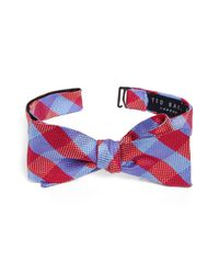 Ted Baker - Blue Derby Check Silk Bow Tie for Men - Lyst