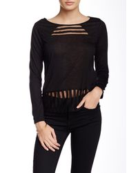 Olive & Oak - Black Shadow Stripe Knit Blouse - Lyst