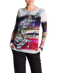 Petit Pois Multicolor Long Sleeve Floral Semi Sheer Top