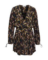 A.L.C. - Black Rory Pleated Silk Dress - Lyst