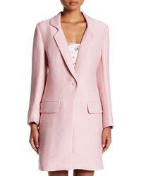 Endless Rose - Pink Ribbed Long Stretch Blazer - Lyst