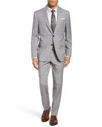 Ted Baker - Gray Jay Trim Fit Plaid Wool Suit for Men - Lyst