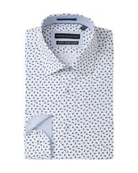 Report Collection - Blue Floral Print Stretch Slim Fit Dress Shirt for Men - Lyst