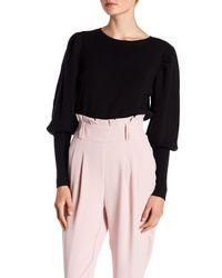 Lea & Viola - Black Puff Sleeve Sweater - Lyst