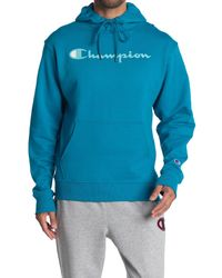 Champion Blue Powerblend Graphic Drawstring Hoodie for men