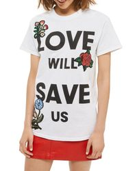 TOPSHOP | White Love Will Save Us Applique Tee | Lyst