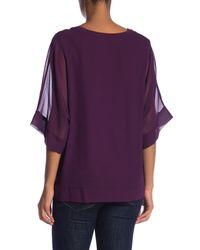 Pleione - Purple Contrast V-neck Blouse - Lyst