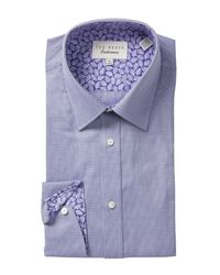 Ted Baker - Purple Micro Check Trim Fit Dress Shirt for Men - Lyst