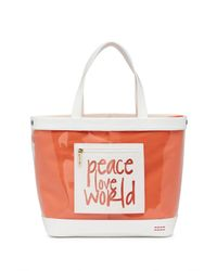 Peace Love World Multicolor Oversized Clear Tote With Pouch