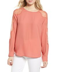 Chelsea28 Pink Lace Inset Blouse