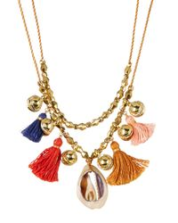 Chan Luu - Multicolor Layered Bell, Tassel, & Cowrie Shell Necklace - Lyst