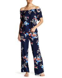 Catherine Malandrino Blue Off-the-shoulder Tee & Pants Pj Set