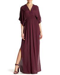 Love Stitch Purple Gauze Kimono Maxi Dress