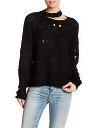 Lush Black Distressed Long Sleeve Sweater