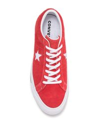 Converse Red One Star Oxford Suede Sneaker (unisex) for men