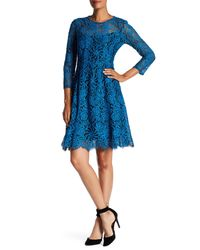 Nanette Lepore Blue Torn Lovers Lace Dress