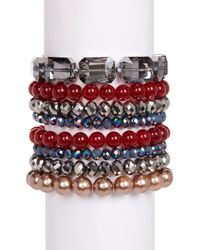 c.A.K.e. By Ali Khan - Red Michelle Faceted Glass Assorted Stretch Bracelet Set - Lyst